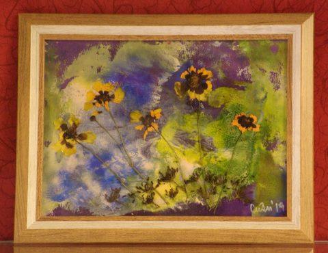 Сухи цветя, фон маслени бои върху хартия. Рамка със стъкло
