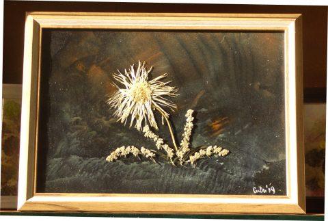 Сухи цветя, фон маслени бои върху хартия. Рамка със стъкло.